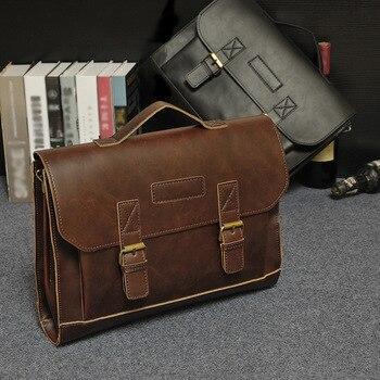 Maleta Homens Designer Sacos de Ombro de Couro de cavalo Louco Do Vintage Sacos Crossbody Bolsas de escritório de Negócios dos homens Bolsa Para Laptop de Viagem