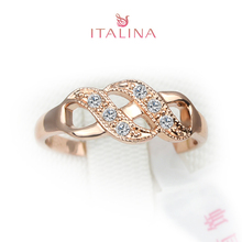 Italina Brand Ring Wedding Jewelry Rose Gold Color Hollow Wholesale Vintage Jewellery Femininos Anel Women Finger Rings(China)