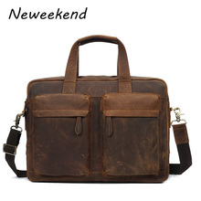 Crazy Horse Leather Men Briefcase Handbag Messenger Bag Portfolio Purse Free Shipping Laptop Case Multi-pockets YD-8046