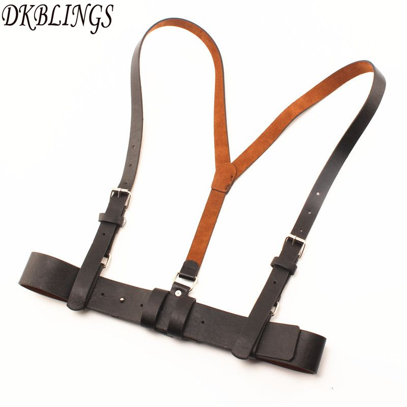 DKBLINGS Multifunctional Braces Belt Fashion Women Cool Causal Wear Sets PU Adjust Suspender 98cm Long