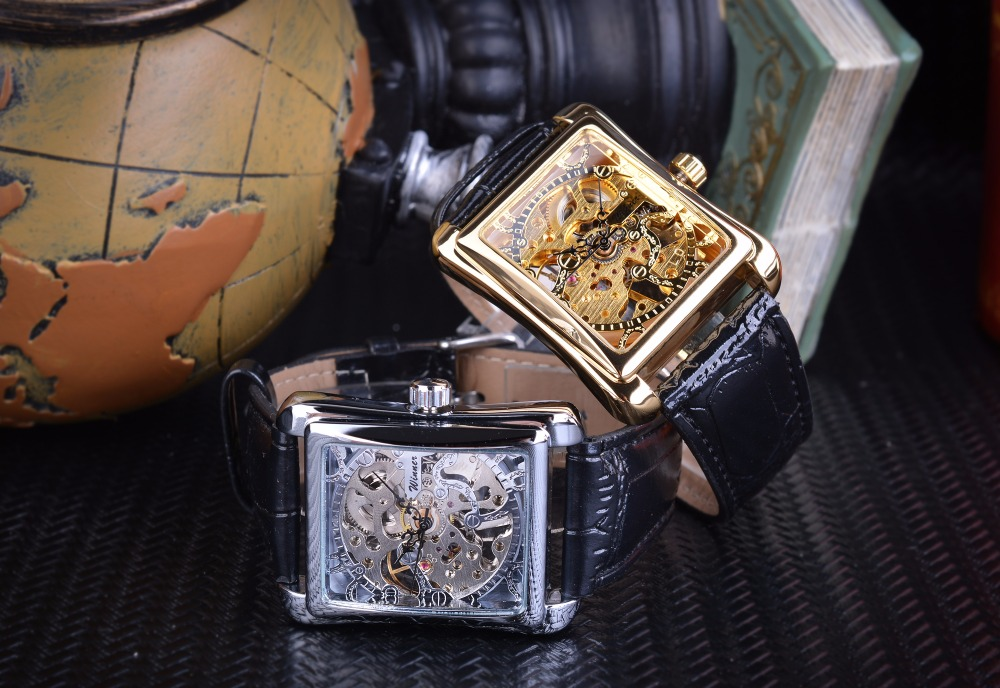 HTB1stime3jN8KJjSZFkq6yboXXaO Winner 2017 Retro Casual Series Rectangle Dial Design Golden Pattern Hollow Skeleton Watch Men Watch Top Brand Luxury Mechanical