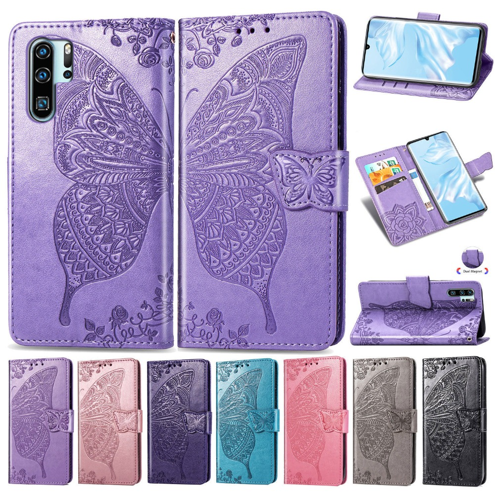 For Huawei P30 Pro Case Luxury 3D Emboss Butterfly Kickstand Wallet Case, Premium Leather Flip Card Slots Magnetic Phone Cover