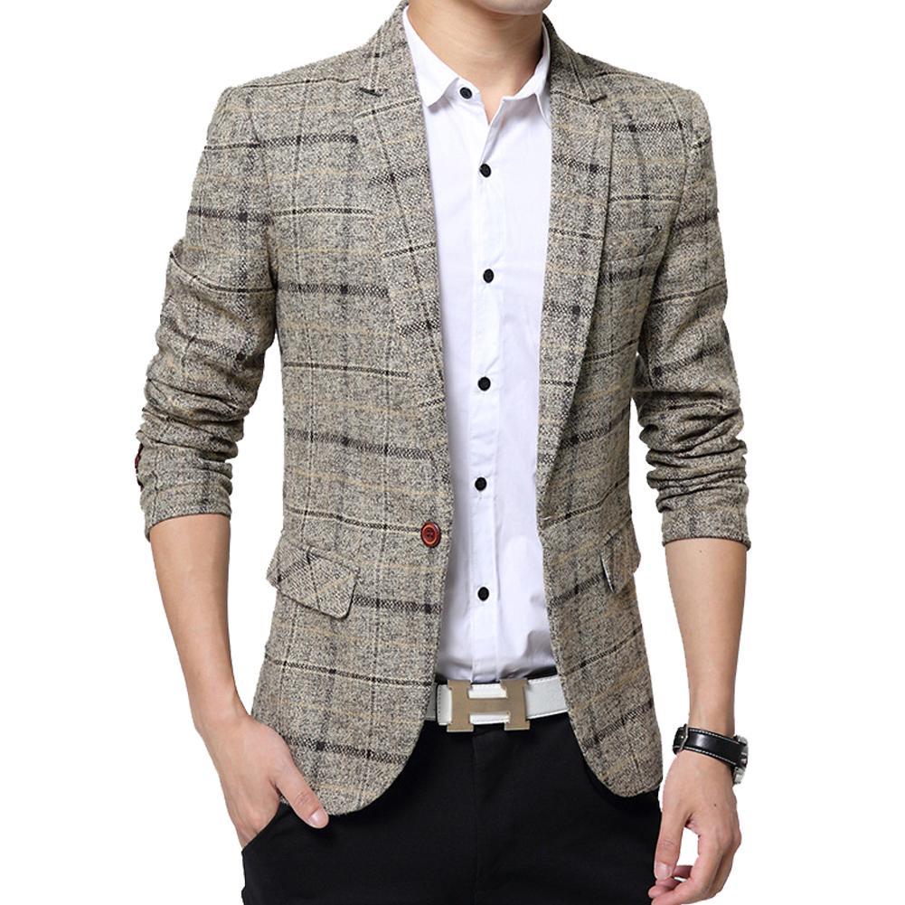 SANWOOD Men Fashion Slim Fit Casual Suit Plus Size M To 3XL Blazer Coat Jacket Outwear Top Grid Pattern