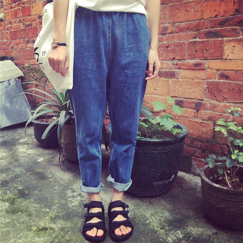 Women Casual Elastic Boyfriend Loose Jeans Haren Denim Stretchable Pants Harem Pants Loose Trousers