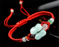 Natural Jadeite A Stone Bracelet Handmade Weave 3D Carved Double PIXIU Boy Girl's Gift Bracelets Jades Jewelry+Red/Brown Rope