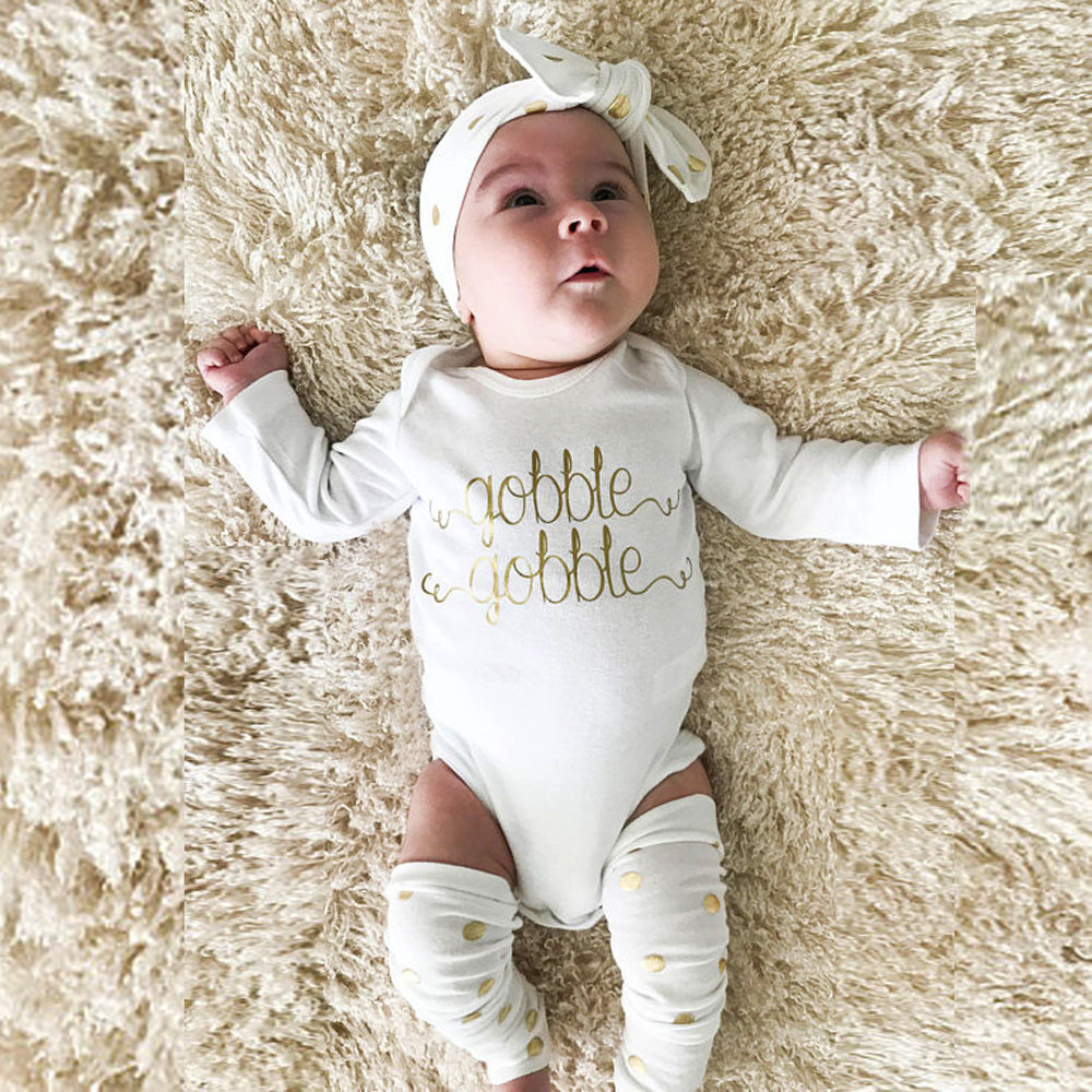 Thanksgiving carnival costume girl Toddler Baby Clothes set long sleeve letter Romper+Leg Warmers+Headband Outfit christmas suit