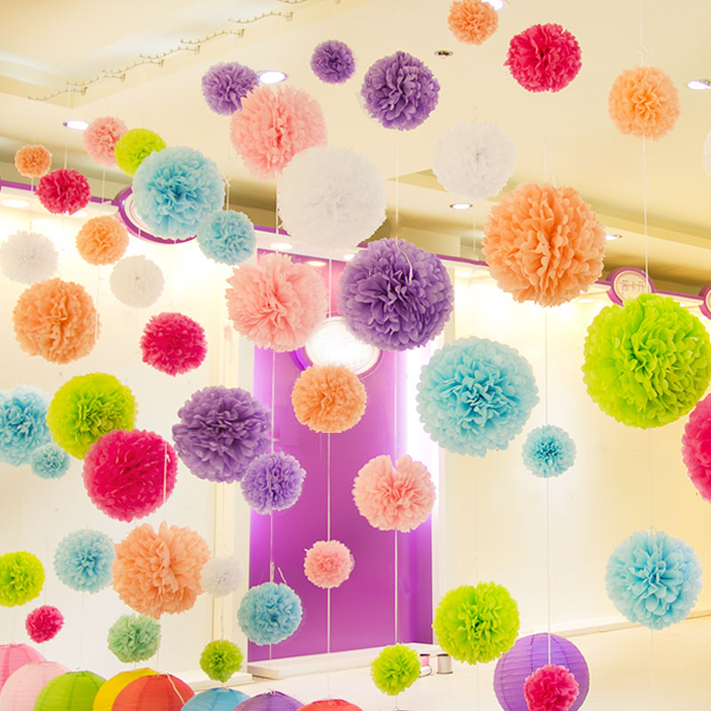 Diy multi colour 4 6 8 mixed sizes 15pcs paper flowers ball wedding home birthday party car - Paper decoration for birthday ...