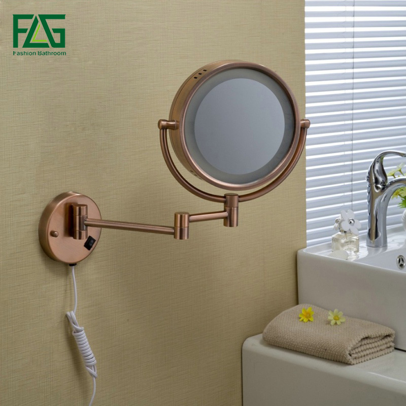FLG Bathroom Cosmetic Mirror Rose Gold LED Light Makeup Mirrors 8.5 Round Dual Sides 3X/1X Wall Mounted Magnifying Mirror JZ017