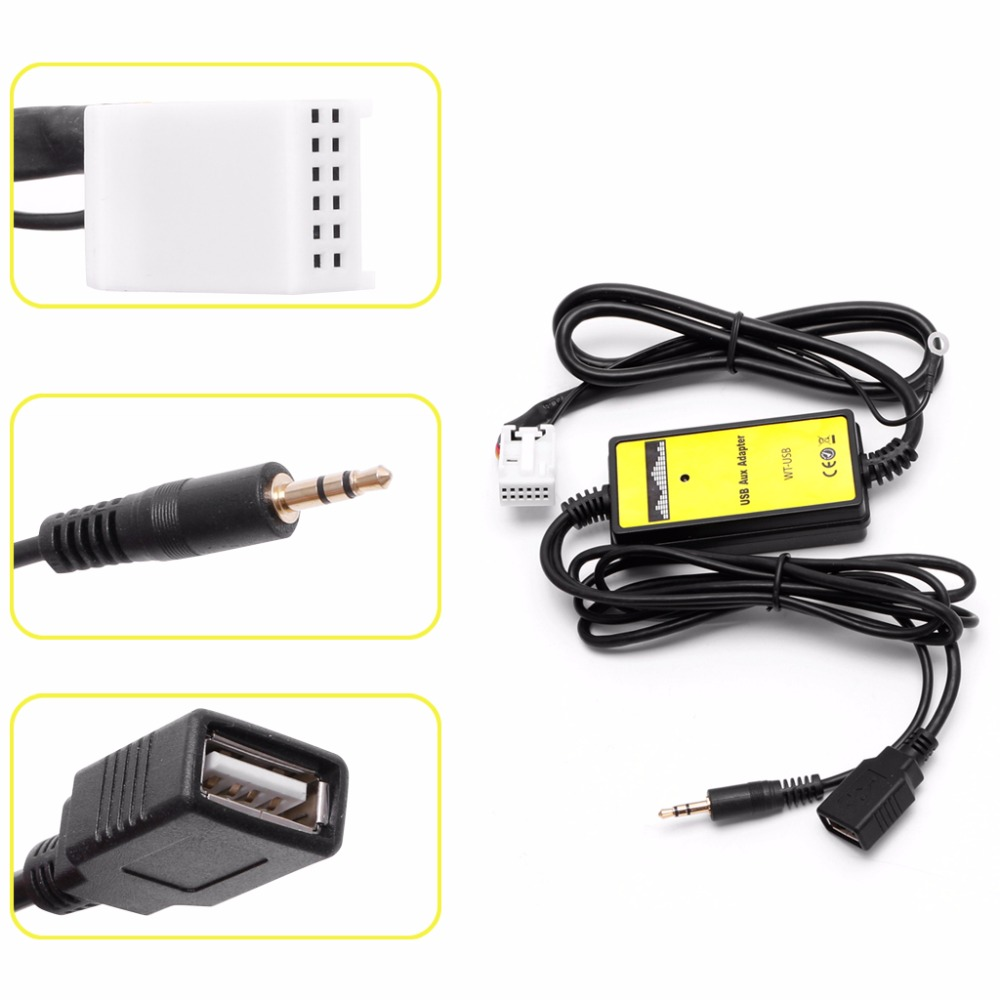 Car Auto USB Aux in CD Adapter MP3 Player Radio Interface 12 Pin For VW Audi Skoda Seat