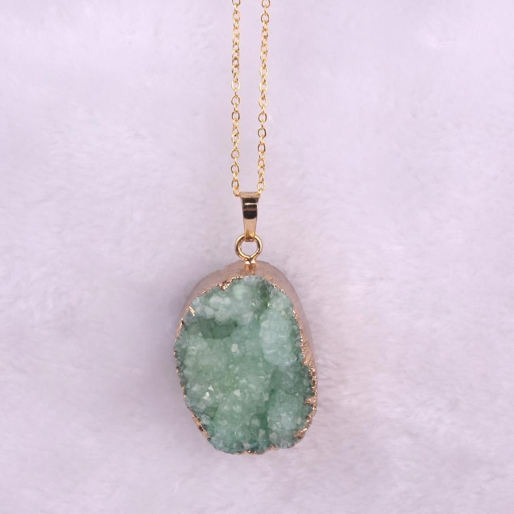 Druzy Free From Drusy Gjerdan varëse prej guri natyral vjollcë prej - Bizhuteri të modës - Foto 3