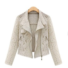 Lace Biker Jacket 2015 Autumn New Brand High Quality Full Lace Outwear Leisure Casual Short Jacket Metal Zipper Jacket FREE SHIP
