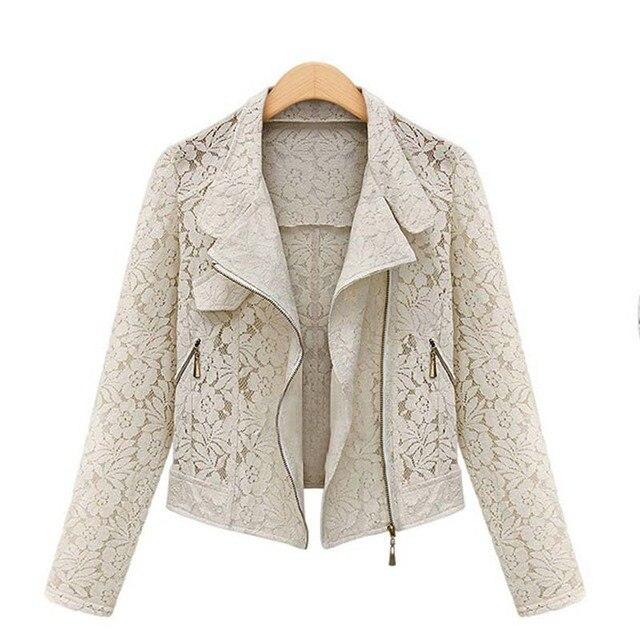 Lace Biker Jacket 2015 outono nova marca de alta qualidade Full Lace exteriores lazer Casual jaqueta curta zíper de Metal jaqueta navio livre