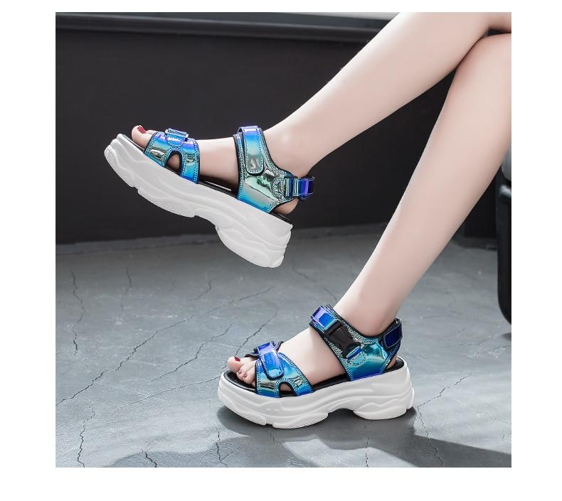 HTB1stjtaf1H3KVjSZFHq6zKppXa9 Women Sandals 2019 New Summer Sandals Ladies Casual Shoes Women Bling Wedges Buckle Strap Platform Shoes 5 CM Sandalias Mujer