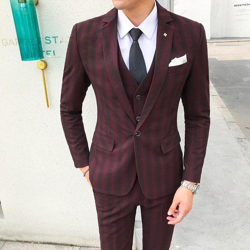 2019 ใหม่ผู้ชายลายคุณภาพสูงอย่างเป็นทางการเจ้าบ่าวงานแต่งงานชุด 3 ชิ้นชุด/Mens ธุรกิจชุด (เสื้อ + เสื้อกั๊ก + กางเกง)-ใน สูท จาก เสื้อผ้าผู้ชาย บน   1