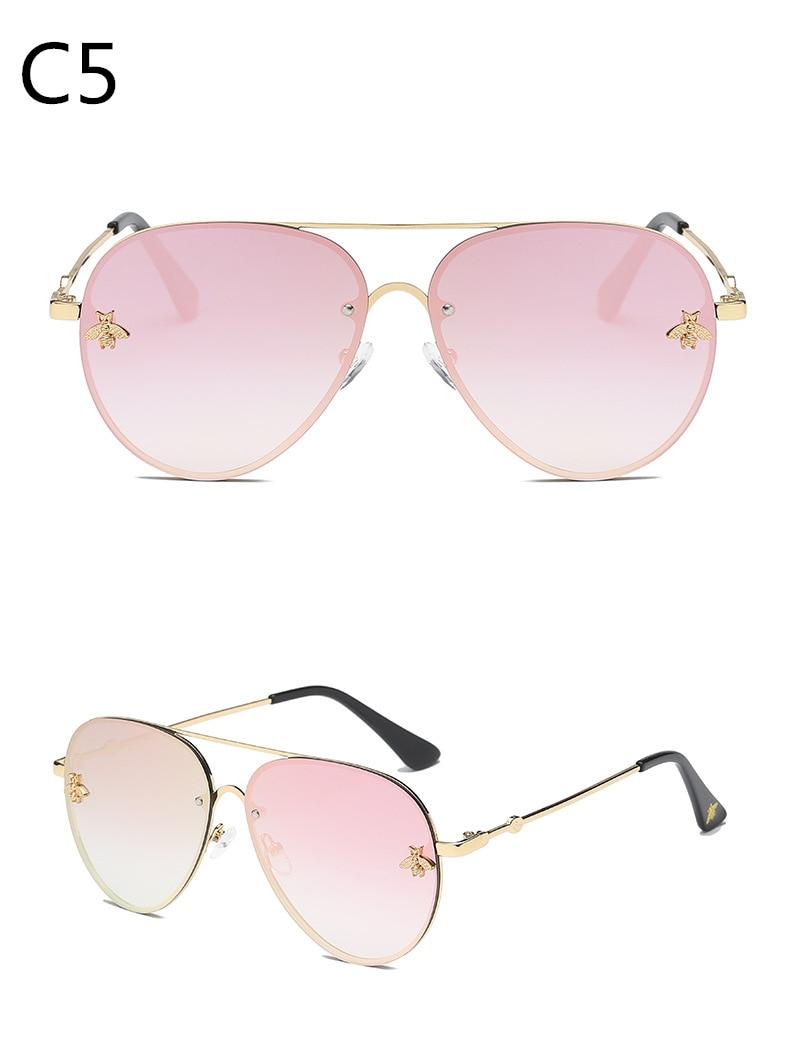 ASOUZ 2019 new fashion ladies sunglasses UV400 metal oval frame bee sunglasses classic brand design sports driving sunglasses (1)