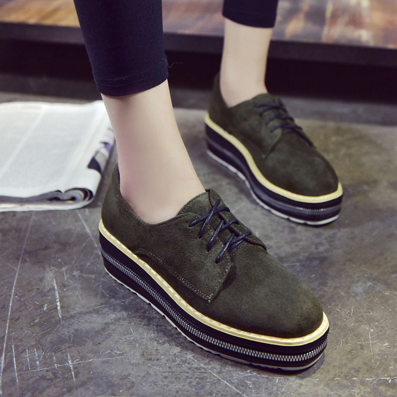 Woman Platform Shoes Women Velvet Oxfords Creepers Lace-Up Wedges Flat Casual Women Square Toe Spring Style Black Shoes Size 8 mcckle 2017 fashion woman shoes flat women platform round toe lace up ladies office black casual comfortable spring