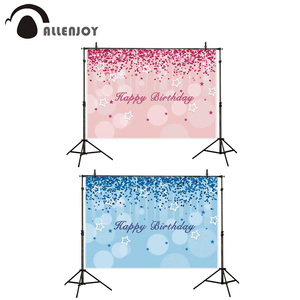 Allenjoy birthday backdrops photography pink blue dots star girl boy photocall background photographic photophone photobooth