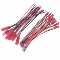 100 Pairs Flexible 2 Pin 100mm JST Connector Plug Male Famale With 22AWG Silicone Wire Cable