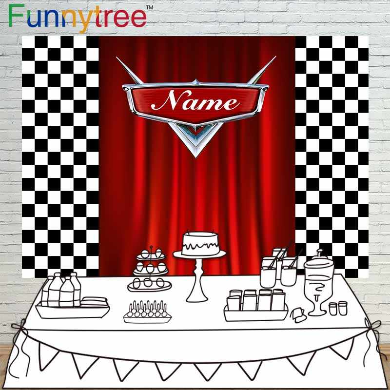 Funnytree Racing theme background for photo studio birthday custom red curtain Black and white grid photography backdrop prop
