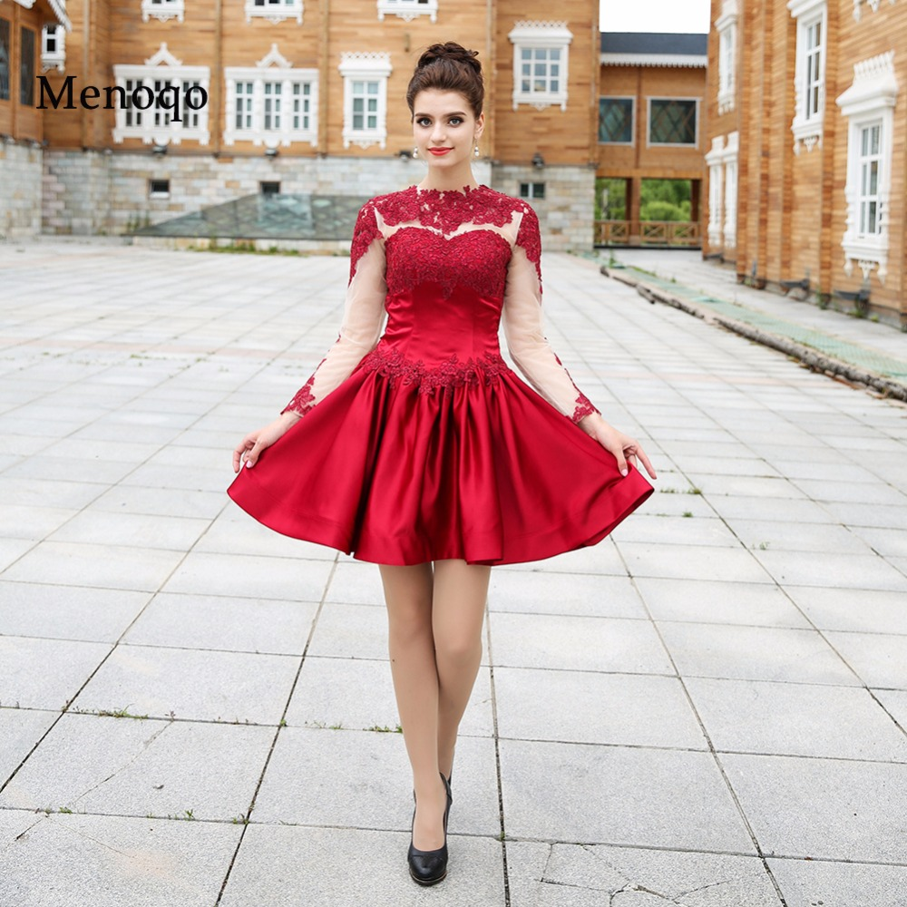 Actual Images Short   Cocktail     Dresses   2019 Special Occasion   Dress   Party Gowns A line Satin Applique Long sleeve Short Formal Gown