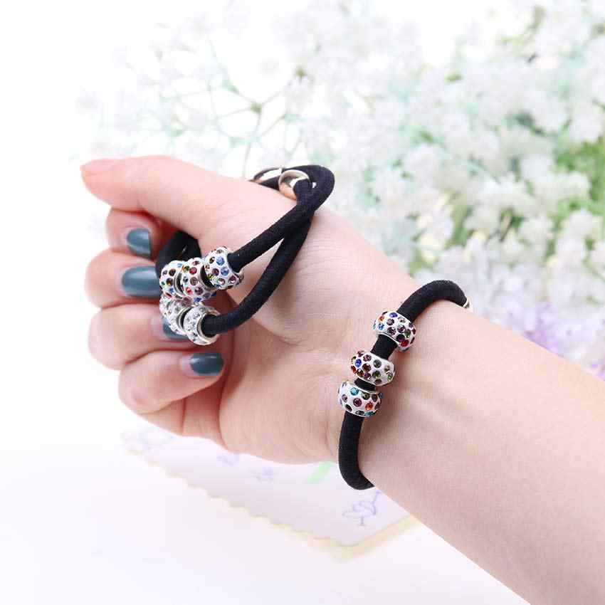 5 PCS Elastic Hair Bands with Three Rhinestones Ball Lovely Gift for women Girl Hair Accessories