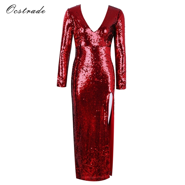 59e171f287904 US $41.55 15% OFF|Ocstrade Red V Neck Long Sleeve Maxi Sequins Side Slit  Fashion Bodycon Dress H0075 Red-in Dresses from Women's Clothing on ...