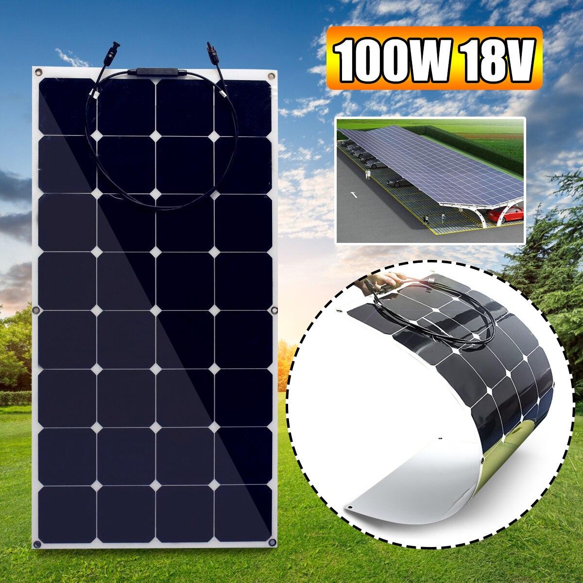 100W Flexible Solar Panel Plate 18V 100W Solar Charger For Car Battery 12V Sunpower Monocrystalline Silicon Cells Module Kit 100w 18v flexible monocrystalline silicon solar panel pv quality power 12v battery