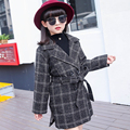 2016 New Autumn Fashion Kids Girls Outerwear Clothing Double Breasted Trench Lace Decoration Jackets & Coats For Girls 2 Colors