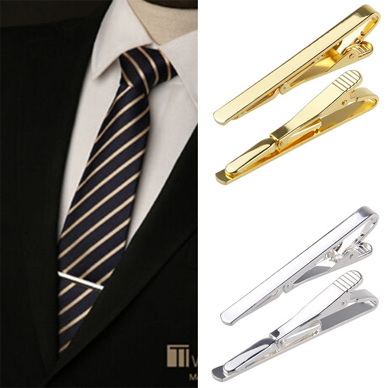 Men Metal Silver Simple Necktie Bar Clasp Clip Clamp Short Mini Pin Hot Cr