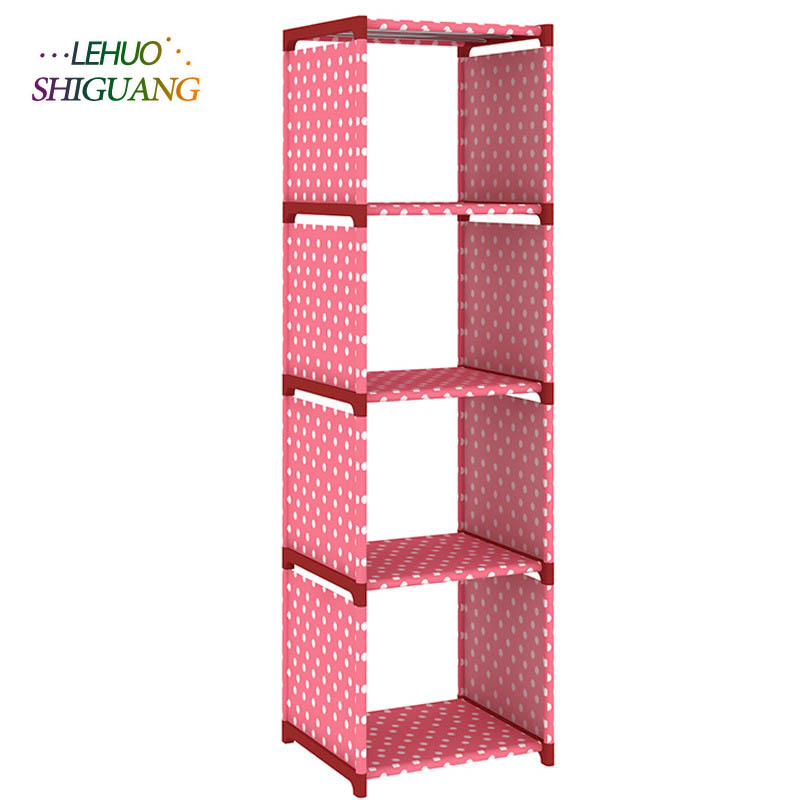 Four shelves non-woven dust shelves children's bookshelf simple floor rack multi-function free combination of removable