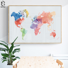 купить Abstract Watercolor World Map Canvas Painting Nordic Posters And Prints Wall Art Canvas Paintings For Living Room Wall Decor по цене 203.93 рублей
