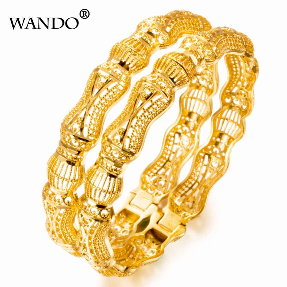 WANDO 1pcs new Ethiopian Bangle Women Gold Color Dubai Bride Wedding Ethiopia Bracelet Africa Bangle Mother's festival gift b11