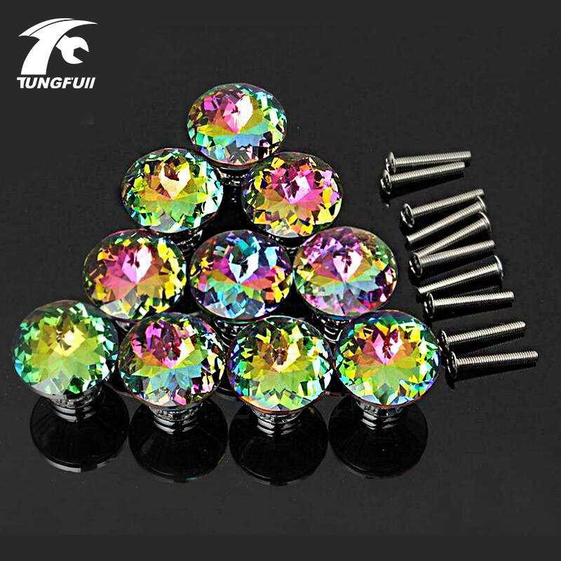 10pcs Door Knobs Crystal Shape Colorful Drawer Cupboard Wardrobe Diamond Glass Alloy Cabinet Furniture Handle Pull 30mm 10 pcs 30mm diamond shape crystal glass drawer cabinet knobs and pull handles kitchen door wardrobe hardware accessories
