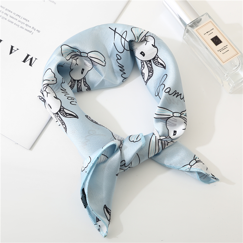 New Summer Cartoon Silk Square Scarf Women Shawls And Wraps Fashion Rabbit Print Office Small Hair Neck Hijabs Foulard