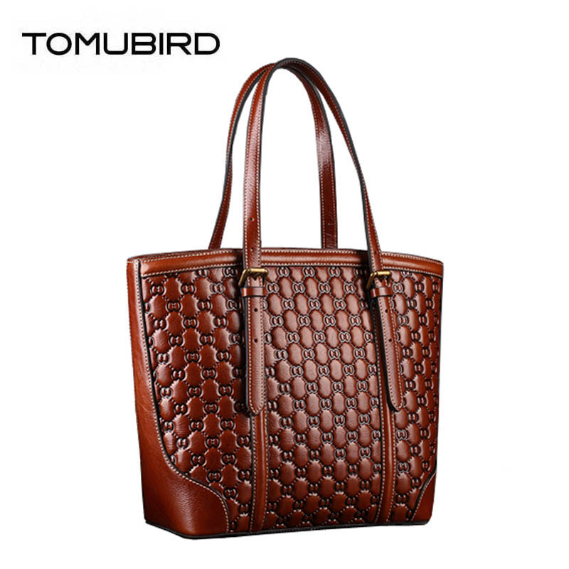 TOMUBIRD 2019 new quality cowhide Embossed handbag famous brand women bag fashion genuine leather handbags shoulder bag