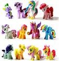 Lote de 12 UNIDS 5 cm Little Pony Toppers Pastel DE PVC Figuras de Acción Juguetes Muñecas