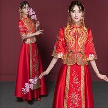 China Bride Qipao 2017 new Stand collar cheongsam long retro elegant red chinese traditional wedding dress