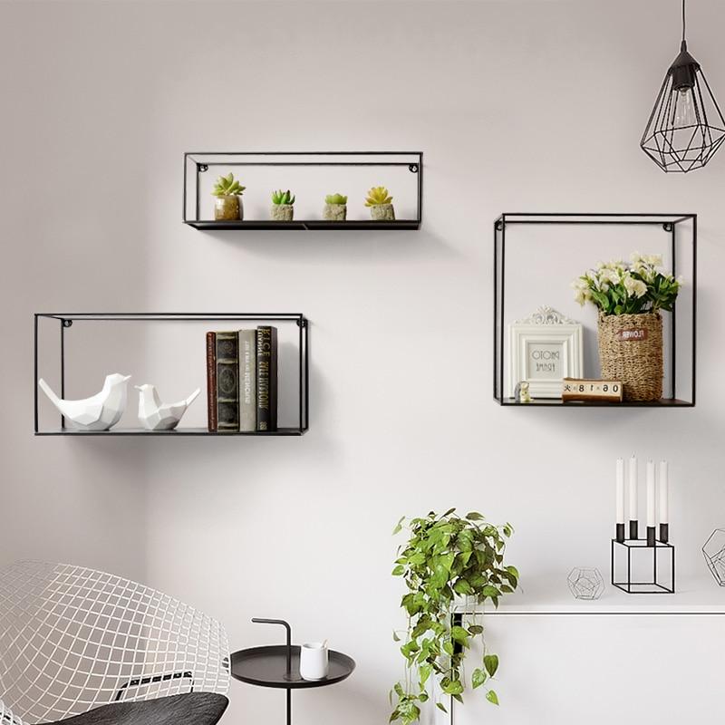 Nordic minimalist wrought iron wall partition racks living room wall decoration creative wall shelf shelf - 5