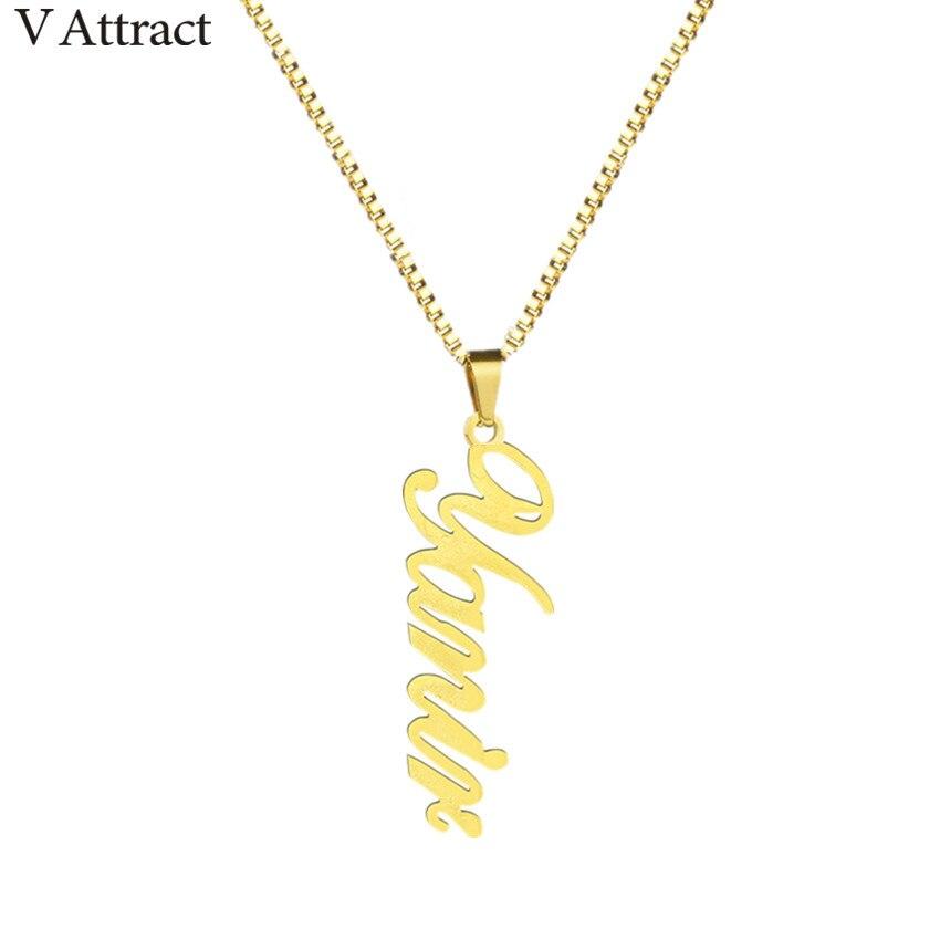 Box Kette Vertikale Name Charme Halskette Frauen Männer Custom Schmuck Gold Gefüllt Personalisierte Typenschild Anhänger Halskette BFF Geschenk