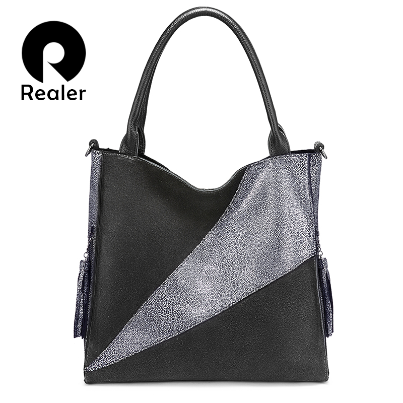 Realer Women Handbags Top-handle Genuine Leather Messenger Shoulder Bags Female Fashion Cross-body Bags For Ladies High Quality