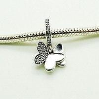 Motyle Fruwające Ze Srebra Próby 925 Wisiorek z Wyczyść Cz Charm Koraliki Pasuje Silver Charm Bransoletka Kobiety DIY Biżuteria Hurtownie FL365
