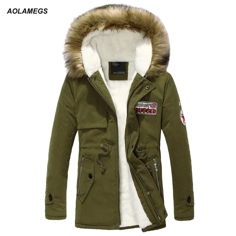 Aolamegs Winter Jackets Men Thicken Warm Fur Collar Outwear Cotton Coat Hooded Parka Coats Fashion Slim Fit Casual Mens Jacket