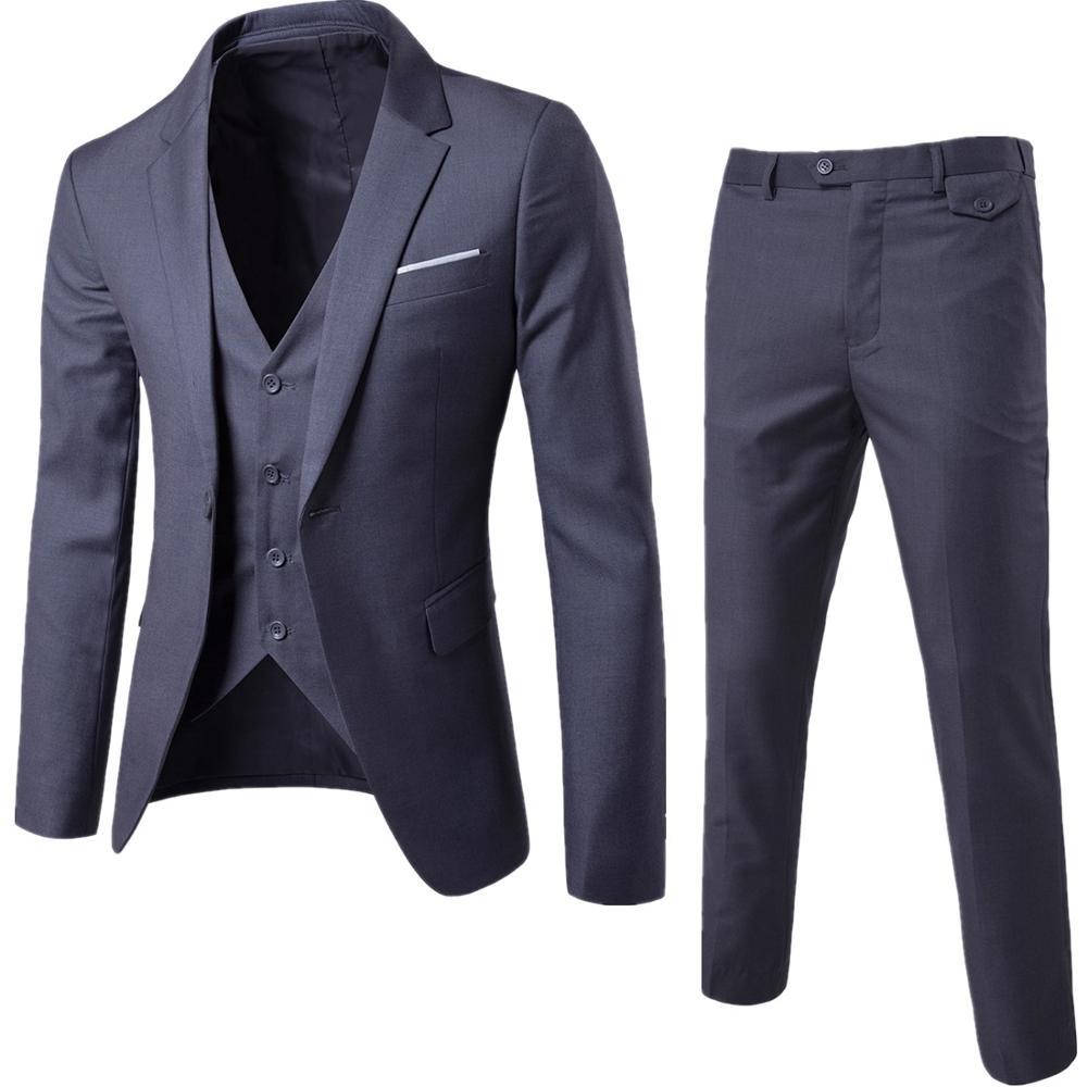 Men Blazer Suit Set Male Jacket Vest Tuxedo Trouses Pants 3 Pieces Slim Fit Formal Suits Wedding Business Party Plus Size 6XL