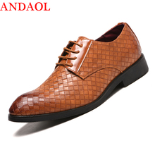 ANDAOL Mens Leather Casual Shoes Top Quality Pointed Toe Plaid Busines Offices Luxury Lace-Up Wedding Dress