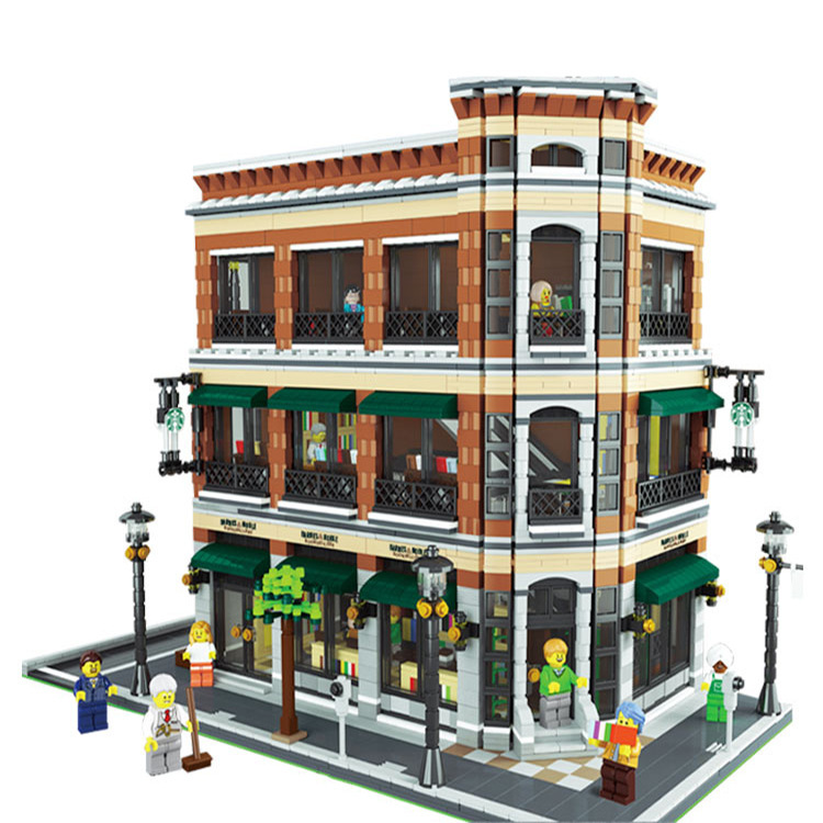 15017 4616Pcs City Street Creator Starbucks Bookstore Cafe Model Building Kit Block Bricks Compatible With 10232 a toy a dream lepin 15008 2462pcs city street creator green grocer model building kits blocks bricks compatible 10185