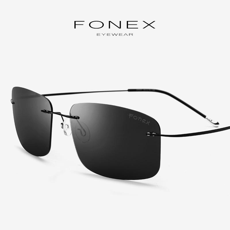 Titanium Alloy Rimless Polarized Sunglasses Men Fashion Brand Designer Ultralight Screwless Square Sun Glasses For Women 20007