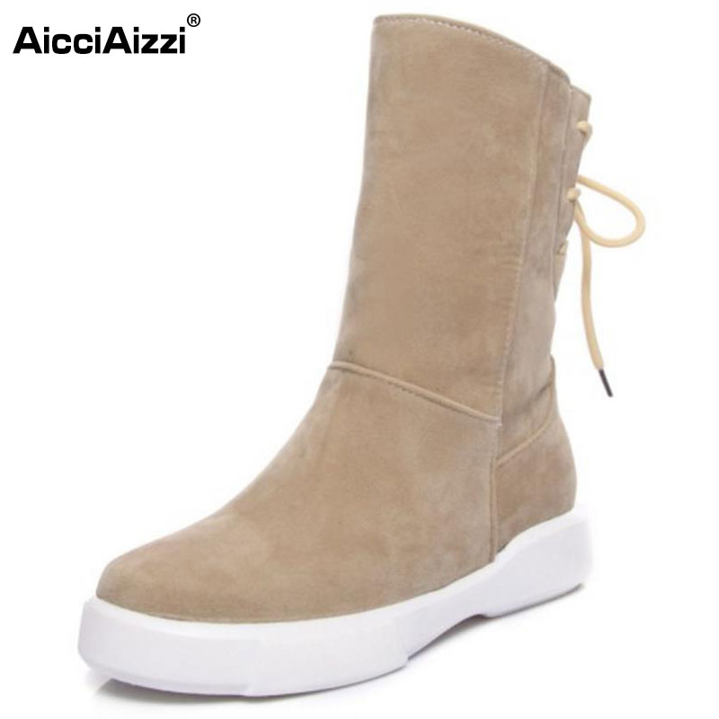 AicciAizzi Size 34-43 Women Mid Calf Flats Boots Cross Strap Warm Fur Flats Boot In Winter Shoes Snow Botas For Woman Footwears taoffen women genuine leather flats snow boots women metal buckle mid calf boots warm fur shoes for women footwears size 34 39