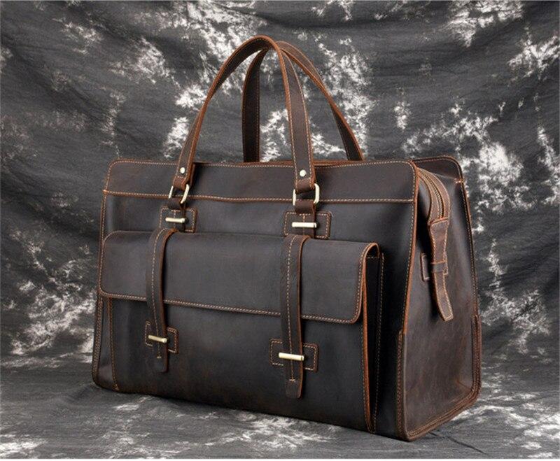 PNDME large capacity genuine leather men's briefcase travel bag retro simple cowhide shoulder messenger bags laptop bag handbag