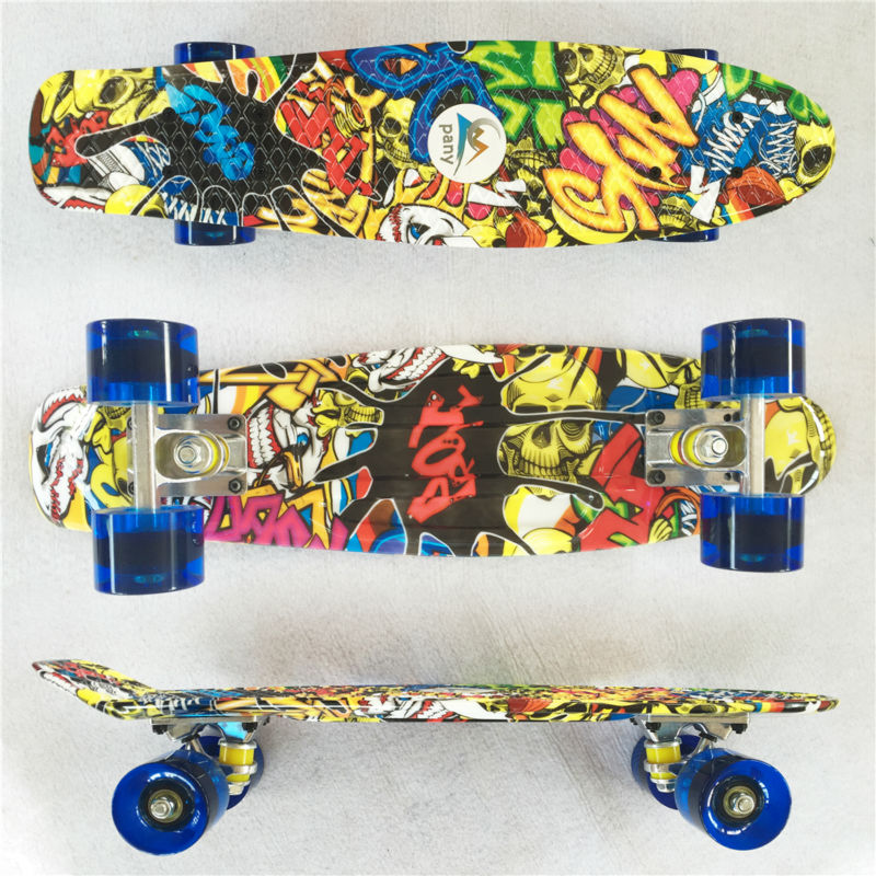 Image 2 - Colorful 22 Inch complete banana board With Color mixed pattern for Girl and boy to Enjoy the skateboarding Mini rocket board-in Skate Board from Sports & Entertainment