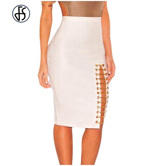 dbbdacbdd € 16.76 |FS Blanco Cintura Alta Ajustada Falda de Midi Bodycon Moda Negro  Cadena Lateral Remiendo de Las Mujeres del Lápiz Faldas Moda Jupe Femme ...